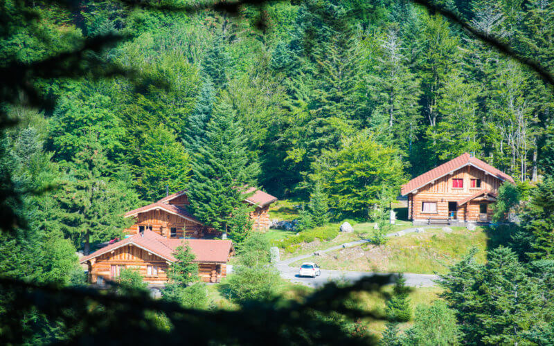 le hameau de chalets en été Le Couarôge La Bresse