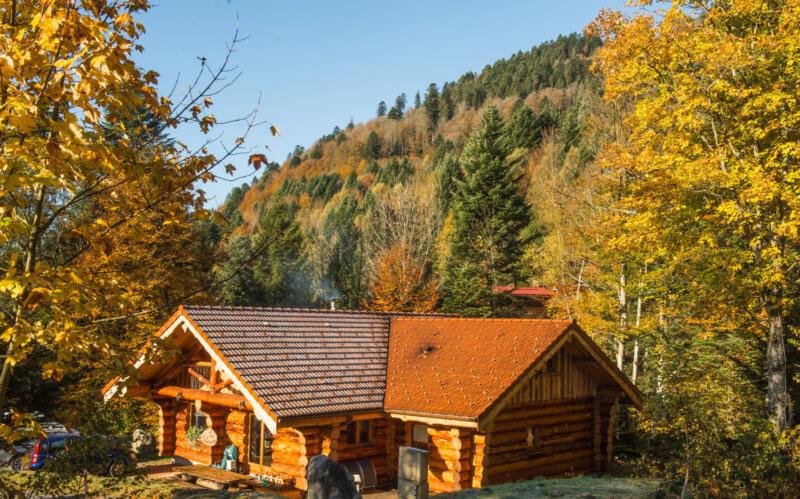 magnifique chalet Le tchazau en automne en lisière de forêt
